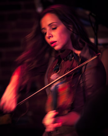 Kalissa Hernandez plays violin and sings harmonies with the Vancouver, British Columbia band Locarno. Click for larger, uncropped version.