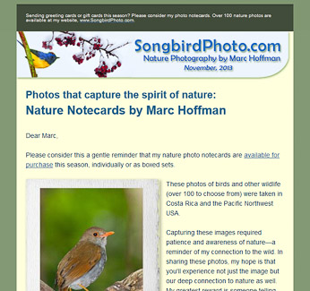 HTML Newsletter for SongbirdPhoto.com