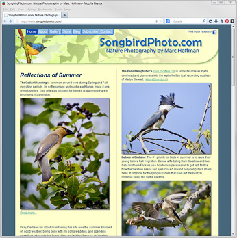 The SongbirdPhoto.com homepage. Click to go there.
