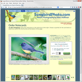 The SongbirdPhoto.com Store page. Click to go there.