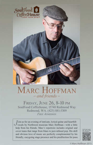 A concert poster for Soul Food Coffee House in Redmond, Washington