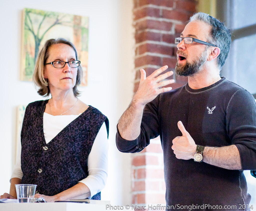 Human rights advocate Aidan Key speaks at the Kirkland Arts Center opening for Gender Personal. With Jacqui Beck.
