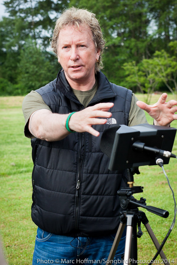 World-class nature recordist Martyn Stewart addresses a workshop on how to record nature sounds.