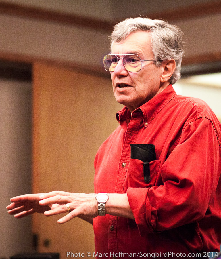 Bernie Kraus addresses the 2014 NatureSound Recording Workshop in Seattle, Washington.